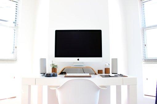 Apple, Chair, Computer, Desk, Table