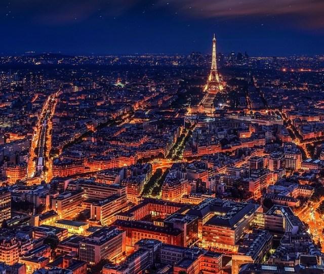 Paris France Eiffel Tower Night