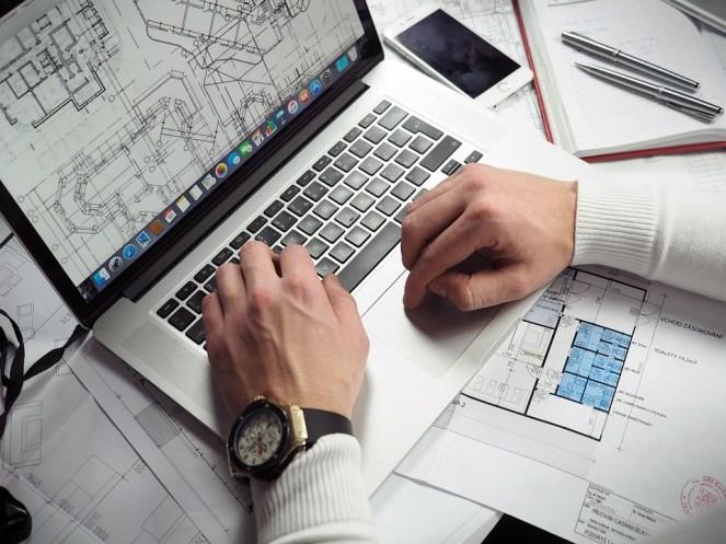 Plantas, empresário, mãos, laptop, macbook