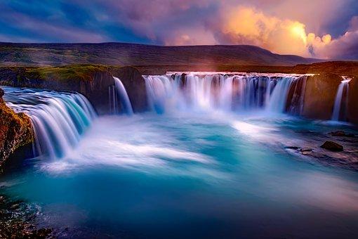 ゴーザフォス, アイスランド, 滝, キャニオン, 川, 水, 風景, 日没