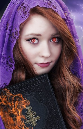girl with red eyes and red hair covered by purple cloak clutching book of spells, witch