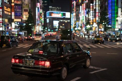 アジア, 車, 日本, ライト, 泊, 人, 新宿, 通り, ストリート写真ストリート写真, タクシー, 東京
