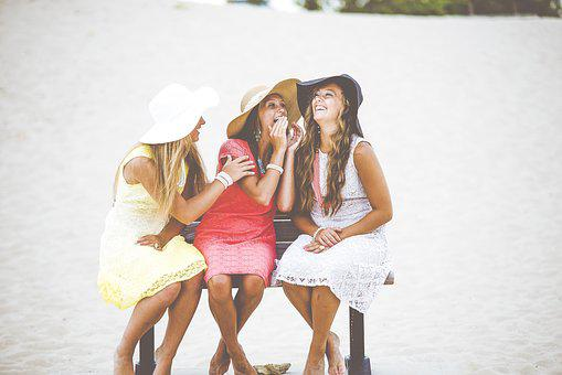 Girls, Bench, Laugh, Laughing, Friends