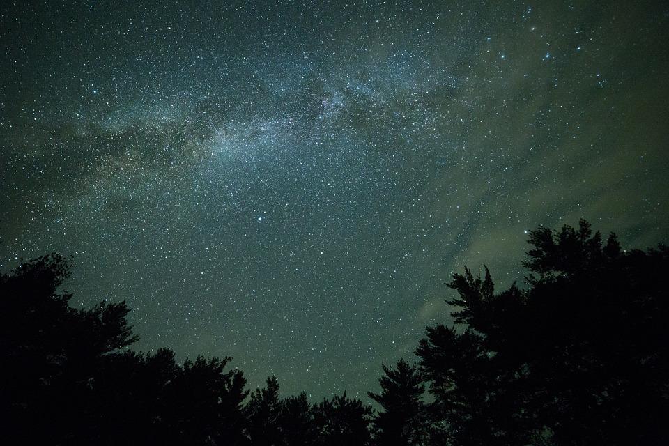 Dark, Milky Way, Night, Silhouette, Sky, Stars