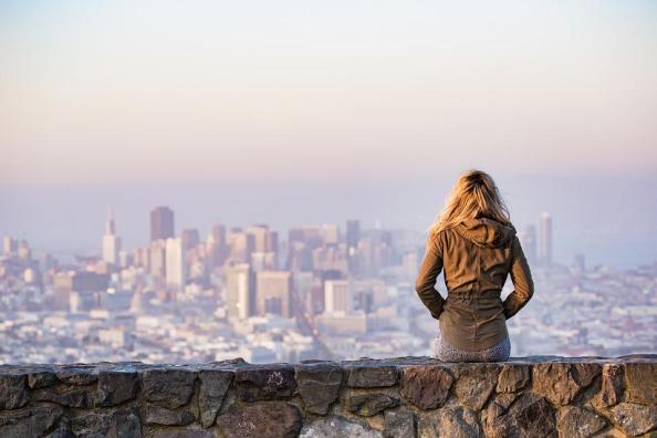 Blonde, Sitting, Wall, Buildings, City, Cityscape