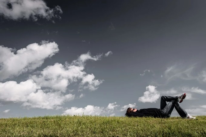Man, Grass, Lying, Resting, Relaxing, Boy, Thinking