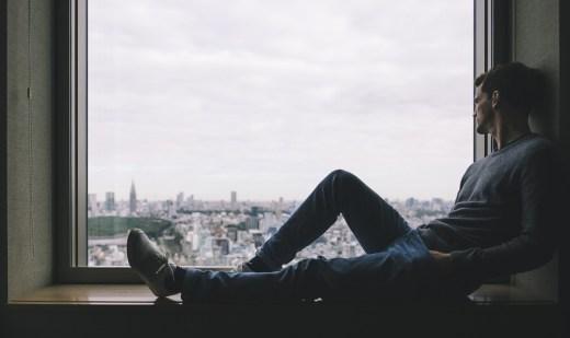 市, 男, 人, ソロ, ウィンドウ, だけで, 思考, リラックス, グレーの市, グレーの考え方