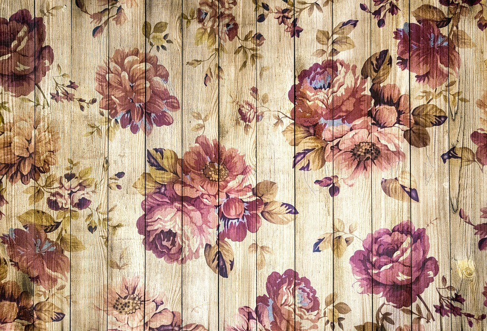 On Wood, Wooden Wall, Vintage, Romantic, Roses