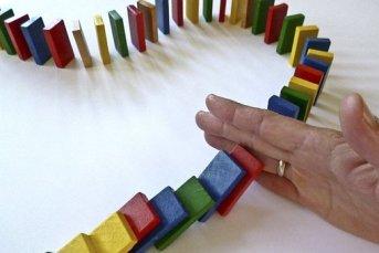 Dominoes, Domino, Barricade, Hand, Stop