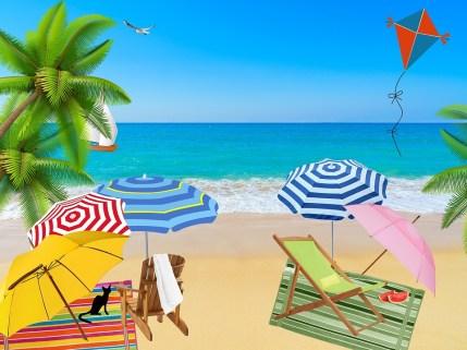 Beach, Ocean, Sea, Sand, Parasols, Water, Wave