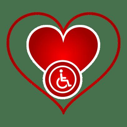 Signe, Emblème, Logo, Handicapé, Amour, Coeur, Icône