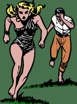 Cave Girl, Chase, Comics, Escape, Flee, Girl, Jungle
