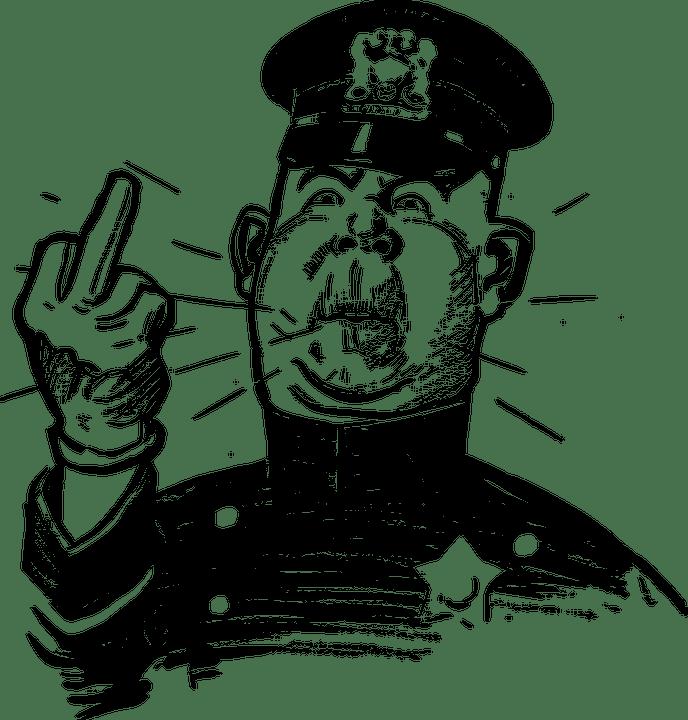 怒って, 機関, マンガのキャラクター, 警官, ジェスチャ, 狂牛病, 真ん中の指, 警察官, 失礼です