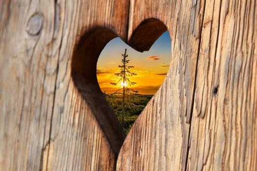 Cuore, Legno, Amore, Tramonto, Romantica