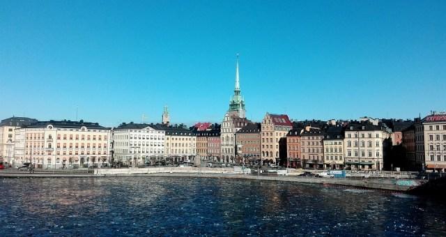 Estocolmo, Suecia, Casas, Mar, Escandinavia, Cielo