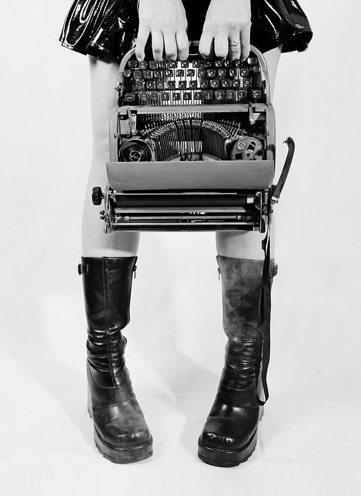 Conceitual, Máquina De Escrever, Goth, Botas, Pernas