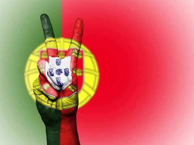 Portugal, Paz, Mão, Nação, Fundo, Banner, Cores, País