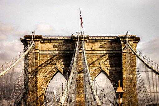 Bridge, Brooklyn Bridge, New York, Usa