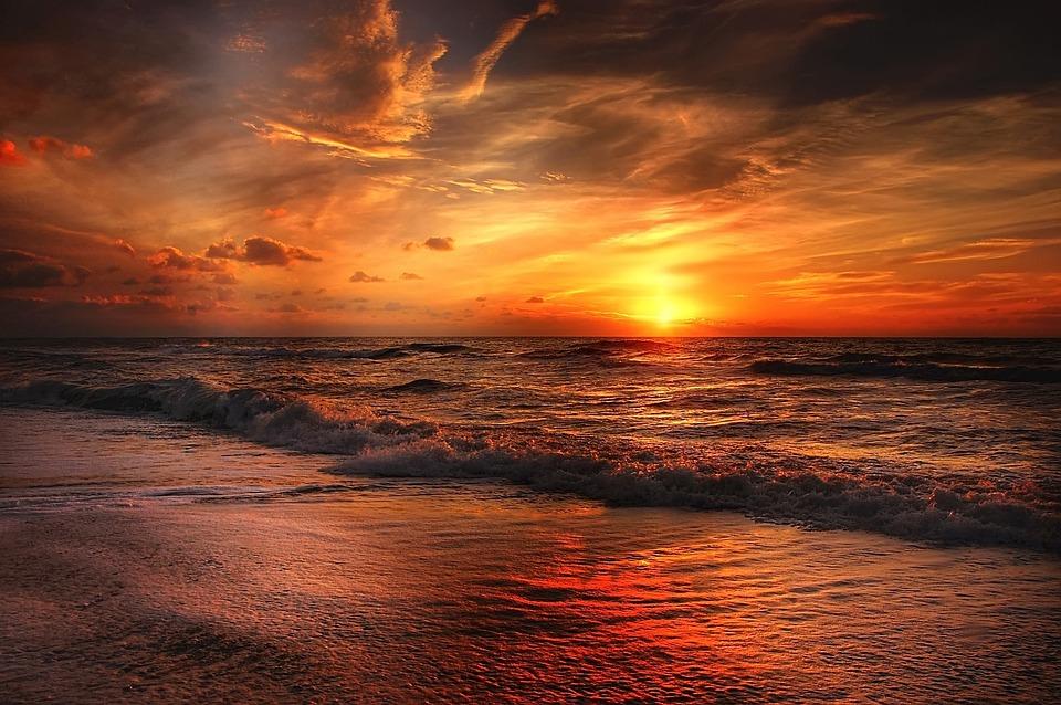 Beach, North Sea, Sea, Sunset, Water, Abendstimmung