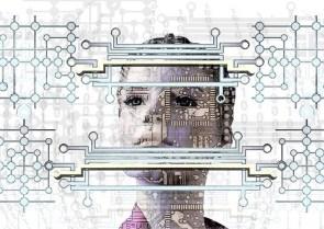 Platine Gesicht Binär Code Datenschutz Rob