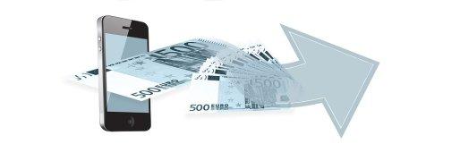 Handy, Euro, Geld, Finanzen Kredit oder Darlehen.
