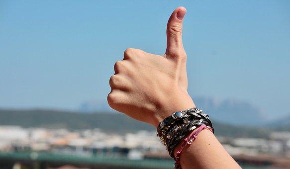 手, 指, ポジティブ, ブレスレット, 親指, 好きな, 幸せです, 安全