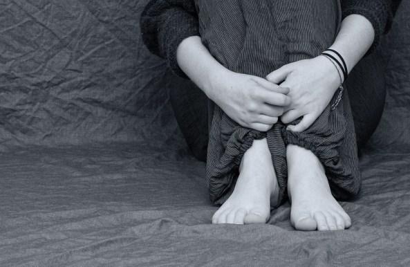 Desperate, Sad, Depressed, Feet, Hands, Folded