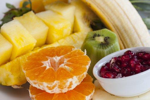 Fruta, Piña, Granada, Plátano, Mandarina