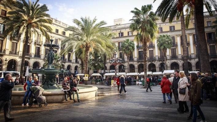 Barcelona, Praça, Espanha, Urbanas, Cidade, Catalunha