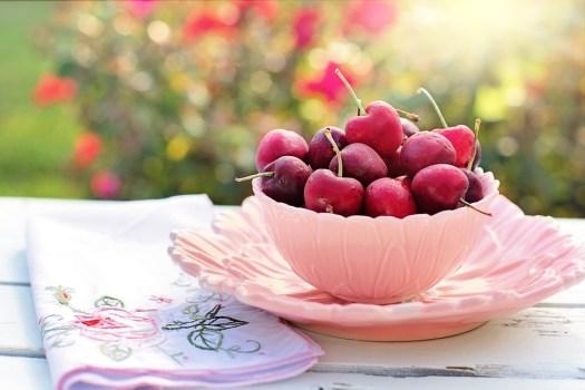 Ciliegie, Ciotola, Rosa, Frutta, Prima Colazione
