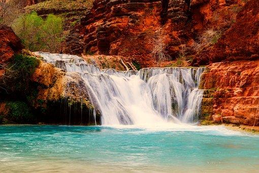 Arizona, Landscape, Waterfall, Falls
