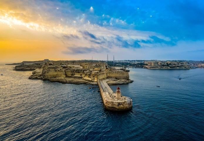 灯台, 港, ポート,  日の出, 朝日, , 島, マルタ, バレッタ, クルーズ, 絶景、猫