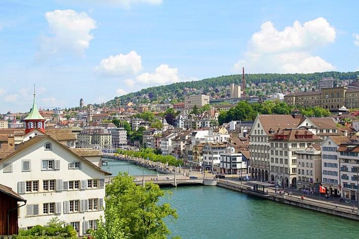 Zurique, Suíça, Limmat, Rio, Arquitetura, Água