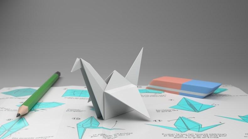 Origami, Crane, Potlood Op Papier, Gom, Papier, Vouwen