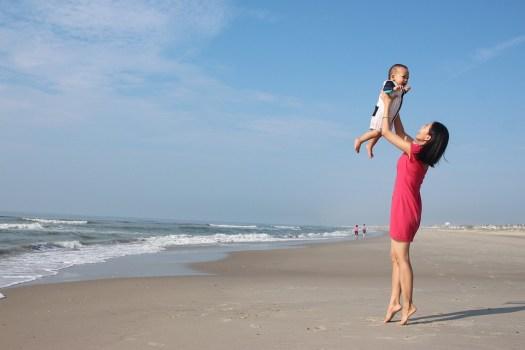 Madre, Figlio, Ocean, Beach, Sabbia, Onde, Bambino