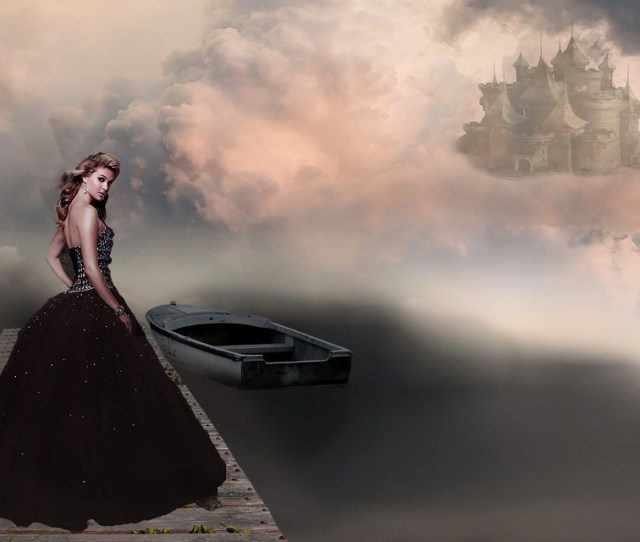 Fantasy Picture Woman Castle Bridge Boat Clouds