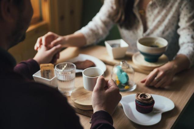 People, Man, Woman, Couple, Holding Hands, Dinner, Date