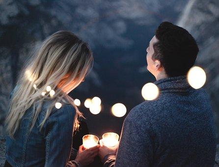 사람들, 남자, 여자, 커플, 데이트, 이야기, 로맨스, 양초, 조명