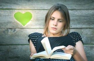 Buch, Mädchen, Herz, Literatur, Lesen