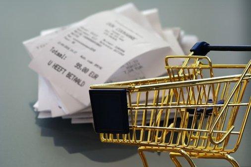 ショッピング, レシート, ビジネス, 小売り, ショッピング カート