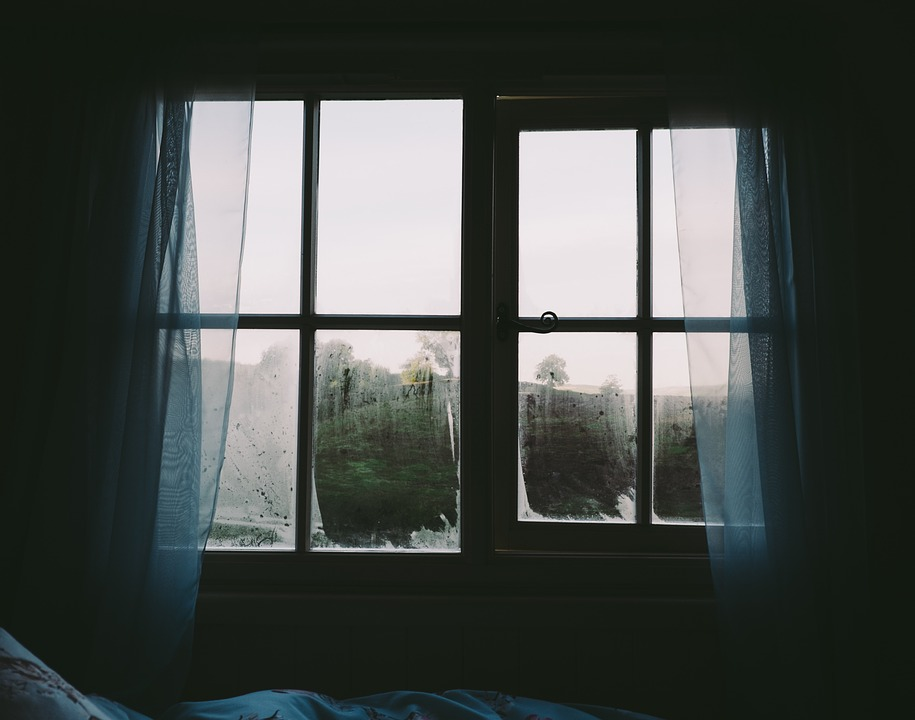 free photo: bedroom, window, curtains, dark - free image on
