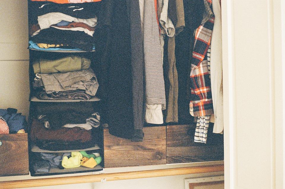 クローゼット, 服, T シャツ, パンツ