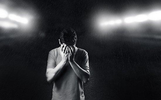 悲しい, 男, 落ち込ん, 悲しみ, 背景, 若, 人, ホワイト, うつ病