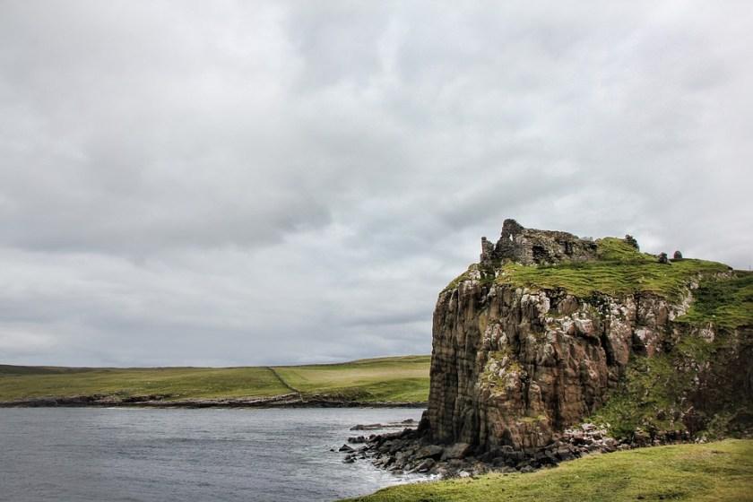 Scotland, Castle, Ruin, Cliff, Historical, Clouds