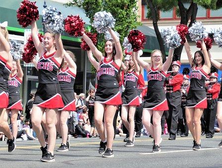 Parade, Cheerleaders, Pumpkins, Merry