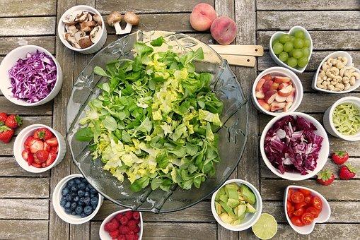 サラダ, 果物, ベリー, 健康, ビタミン, 新鮮, 食品, ベジタリアン
