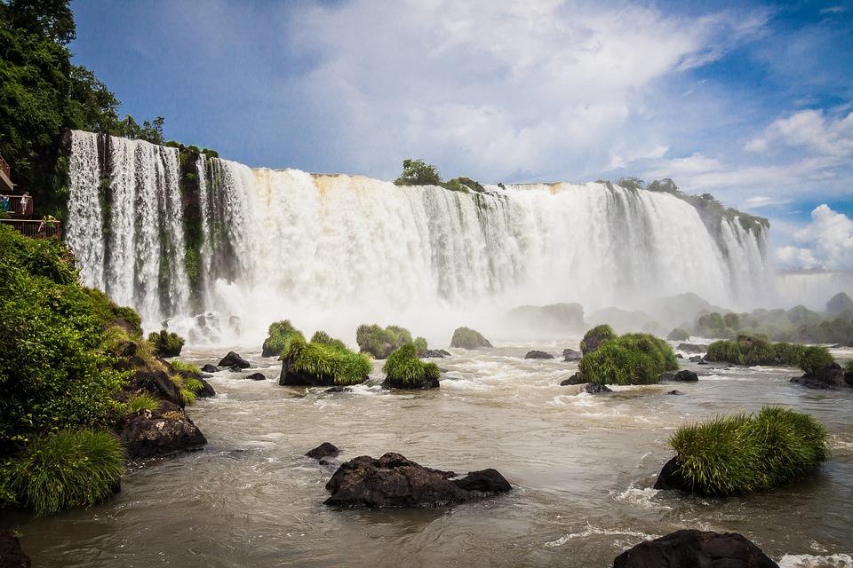 Iguazu, Iguacu, Iguasu, Tombe, Chute D'Eau, Sud