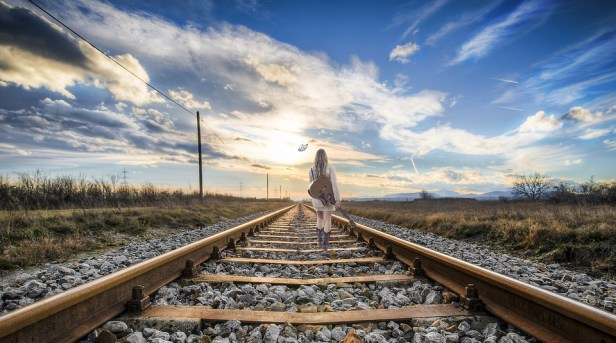 Rail, Girl, Composing, Fantasy, Fantasy Image, Dream