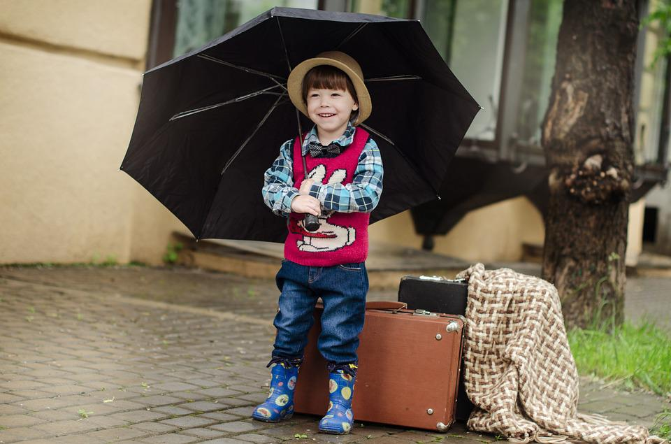 Suitcase, Rain, Street, Wet, Weather, Boy, Kids