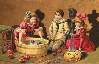 ハロウィーン, ビンテージ, 子供, カード, 幸せ, 休日, 女の子, リンゴ, 動物, カボチャ, 怖い